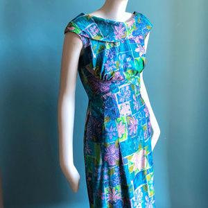 Lauhala Dresses - 1960s Lauhala Hawaai Long Mod Print Long Dress XXS